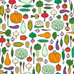 Vector seamless pattern with hand drawn colored vegetables