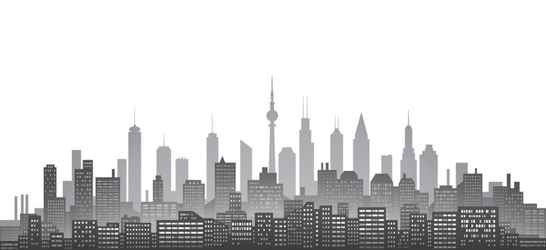 Black and white city skyline with urban skyscrapers