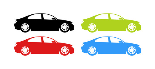 Silhouette of Cars in different colors