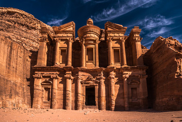 The Monastery Ad Deir ( El Deir)  monumental building carved out of rock in the ancient Jordanian city of Petra