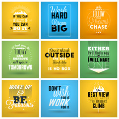 Fotobehang Vintage Poster Set of Inspirational and Motivational Typographic Quote Vector Posters. Vector Typographic Background Design