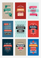 Set of Inspirational and Motivational Quotes Typographic Posters. Vector Illustration in Flat Style. Vector Quote. Poster Template