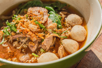 bowl of thai style beef noodle soup