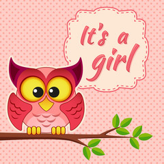 Baby girl shower card with owl on branch. It's a girl