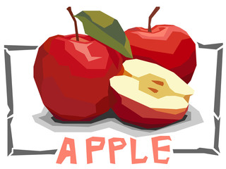 Vector simple illustration of fruit red apples.