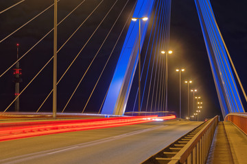 Single-Shot HDR of light trails of cars on a bridge at Ludwigshafen in Germany.