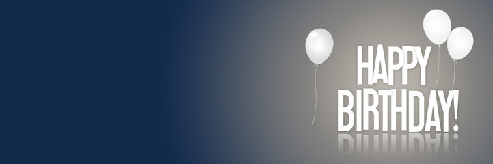 Happy Birthday - Balloons - Website - Anniversary - Banner - Greeting Postcard - Illustration Banner