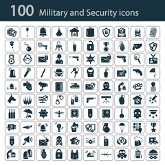Set of one hundred military and police icons