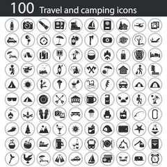 Set of one hundred travel and camping icons