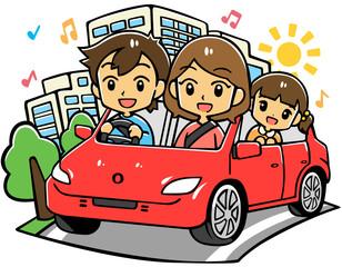 家族ドライブ(赤い車)