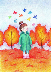 Child's picture of little beautiful girl going for a walk in autumn park by the color pencils.