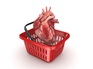 Human heart in a basket.