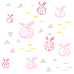 Baby pattern seamless abstract pink apples and fruit design. Nursery kid background for bed linen and apparel.