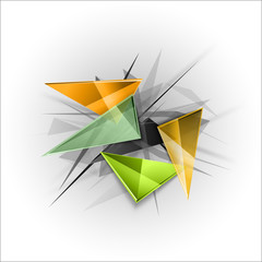 Sharp triangles on the abstract background. Vector busines temp