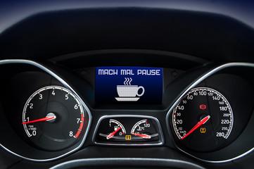 Cockpit mit Mach mal Pause, Müdigkeitswarner, Müdigkeit, Warnung