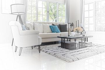 sketch design of modern living room interior
