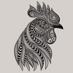 Abstract vector rooster tattoo. New year 2017