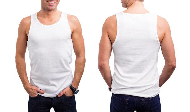 Man's white tang-top