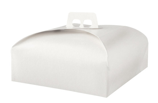 Takeaway cake box on white