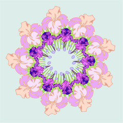 """"""" Flowers irises . Vector. Ornament in the circle"""