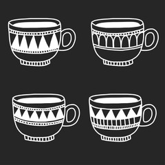 Hand drawn coffee cups