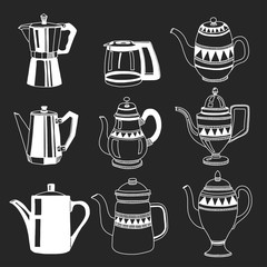 Hand drawn coffee pots