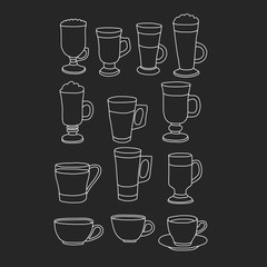 Hand drawn coffee cups on black background