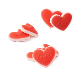 Heart shaped chewing candy isolated