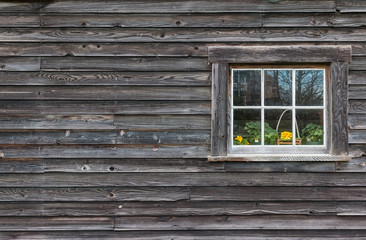 Window of old wooden log house
