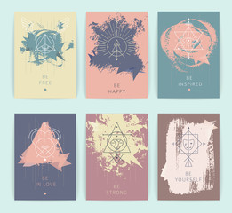 Set of vector geometric alchemy symbols with inspired phrases on hand-drawn background / abstract occult and mystic signs / business card templates / line hipster logotype.