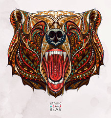 Patterned head of the growling bear on the grunge background. African / indian / totem / tattoo design. It may be used for design of a t-shirt, bag, postcard, a poster and so on.