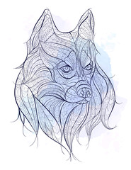 Patterned head of the dog husky on the grunge background. African / indian / totem / tattoo design. It may be used for design of a t-shirt, bag, postcard, a poster and so on.