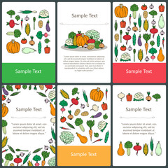 Vector set of colored cards with hand drawn vegetables