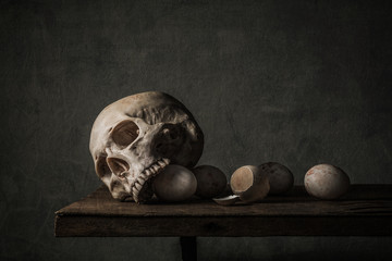Still life photography with Human skull and eggs