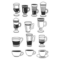 Hand drawn image with coffee cups and glasses