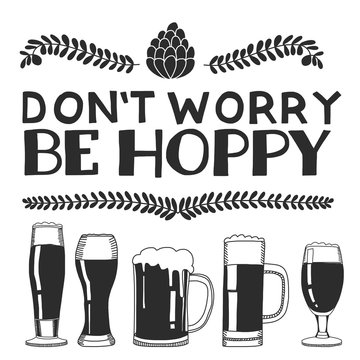 Hand drawn image with quote about beer