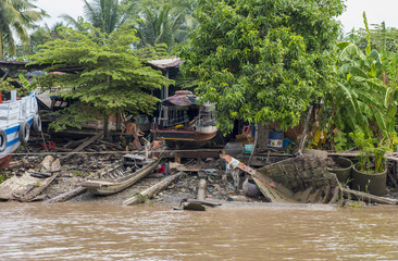 Boat repair in the Mekong Delta