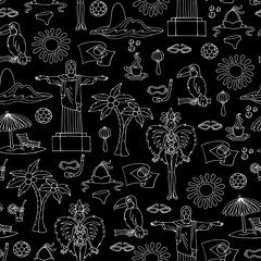 Vector seamless pattern with hand drawn symbols of Brazil on black color