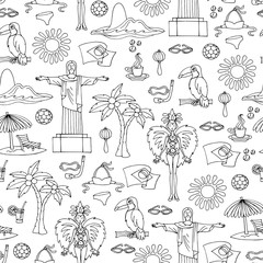 Vector seamless pattern with hand drawn symbols of Brazil on white color