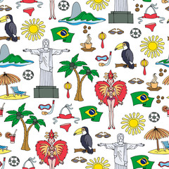Vector seamless pattern with hand drawn symbols of Brazil