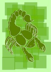 Зеленый стилизованный скорпион