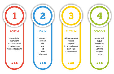 Collection of 4 isolated banners - 4 step infographic with templ