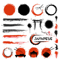 Traditional Japanese style. Set of brushes and other design elements