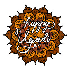 Happy Ugadi Lettering for celebration, greeting card, banner, print, poster and web. Vector