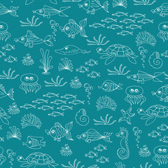 Vector seamless pattern with hand drawn fish on green color