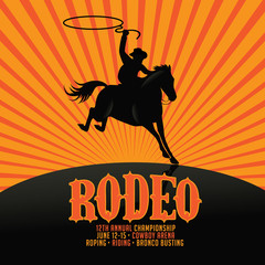 Rodeo poster design with copy space