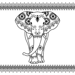 Elephant with border elements in ethnic mehndi style. Vector black and white frontal elephant's illustration isolated on white background