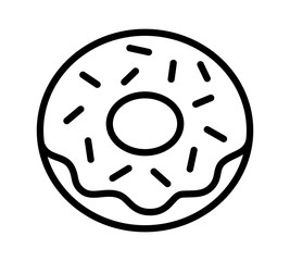 Donut / doughnut with frosting and sprinkles line art icon for food apps and websites