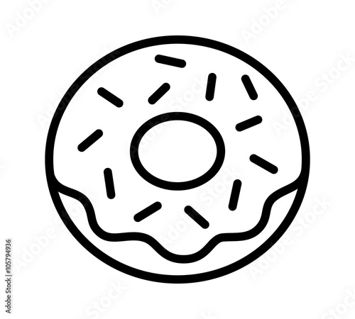 Donut Doughnut With Frosting And Sprinkles Line Art Icon For Food
