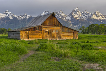 Old wooden Mormon barn on Mormon Row in Grand Teton National Park